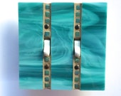 1 Of A Kind Light Switch Cover, Decorative Switch Plate, Turquoise Wall Plate, Double Toggle Cover, Aqua Stained Glass, Teal Cover, 8200