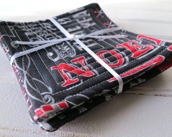 Set of 4 Quilted Coasters - Chalkboard Christmas