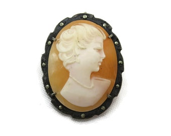 Carved Shell Cameo Brooch Pendant - Marcasite and Silver