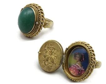 Jade Locket Ring - Vintage Secret Compartment Poison Ring, Silver, Jadeite, Adjustable