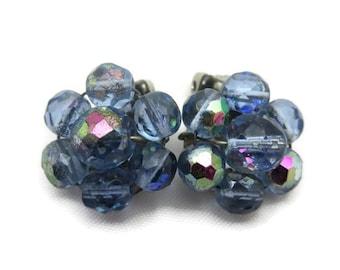 Beaded Clip Earrings - Vintage Clip On Earrings, Blue Glass Beads, AB Finish, Costume Jewelry Vintage Earrings for Women