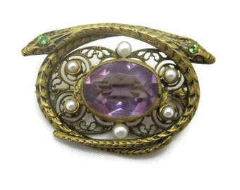 Snake Brooch - Czech Glass, Purple, Costume Jewelry