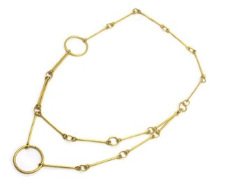 Matte Gold Modernist Necklace - Long Links, Costume Jewelry, Double Chain