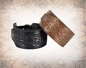 Celtic Knot - Leather Watch Cuff, Leather Watch Strap, Leather Watch Band, Covered Watch Cuff, Men's Watch Cuff -Custom to You (1 cuff only)