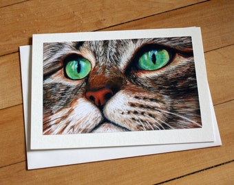 Tabby Cat Greeting Card, Blank Greeting Card, Note Card, Art Card, Any Occasion, Birthday Card, Painting, Envelope, Realism, Cat, Handmade