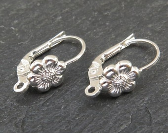 Sterling Silver Flower Lever Back ~ PAIR (CG8112)