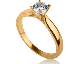 Solitaire Engagement Ring , 14k Gold Engagement Ring , Gold and Diamond Ring