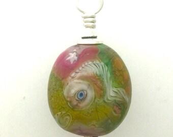 Small Lamp Work Glass Eye Bead Pendant #5