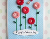 Paper Quilled Happy Valentine's Day Fringed Flower Card, READY TO SHIP