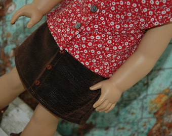 Blouse, Leather Mini Skirt, boots, 18 inch doll clothes, girl clothes,
