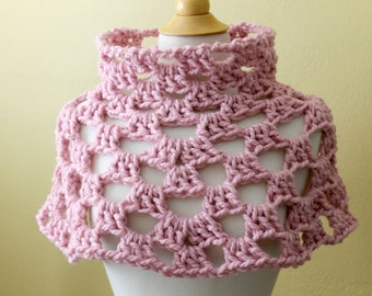 Crocheted Chunky Pink Capelet. Poncho. Cowl.