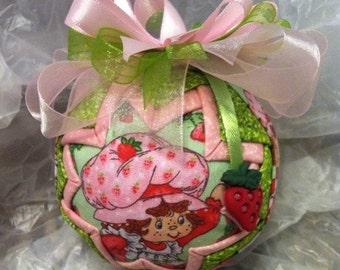 Strawberry Shortcake Quilted Star Christmas Ornament Birthday Gift, Christmas Gift, Stocking Stuffer, Hostess Gift, Secret Santa