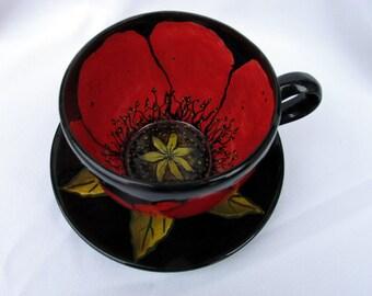 Extra Large Mug, Artistic Ceramic Cup & Saucer , 24 oz Jumbo Pottery Mug, Red Poppy Floral Motif on Etsy