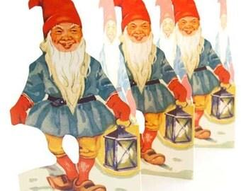 Sweden Paper Running Frieze Lithograph Die Cut Christmas Gnomes Elves Tabletop Garland  FRZ 06