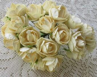 Paper Millinery Flowers 20 Handmade Summer Roses In Ivory