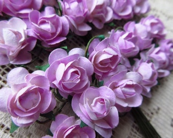 Paper Millinery Flowers 24 Petite Handmade Roses In Pale Lavender Mix