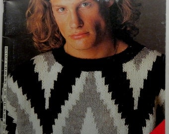Vintage 1985 Georges PICAUD No. 98 Paris France Special Mens Hommes 26 Sweater Tricot KNITTING PATTERNS English Text Pullout Gay Interest