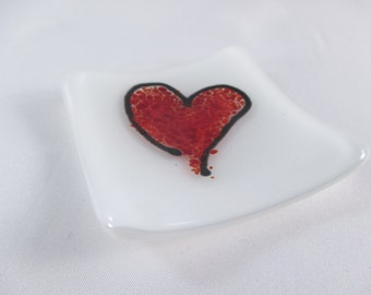 Red Heart Small Square 3 Inch Fused Glass Ring Dish Trinket Dish