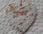 Wordz From the Heart Snippet Ornament - GRACE - Stitched From Recycled Vintage Quilt Piece
