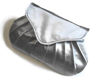 Silver Clutch, Small gray clutch, Pleated Purse, Evening Bag,
