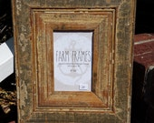 4 x 6 TAN old vintage wood picture frame