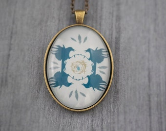 Crow's Nest Pendant (Blue), Large Vintage Style Brass Oval Pendant with Illustration by June Hunter, Crow Lover Gift