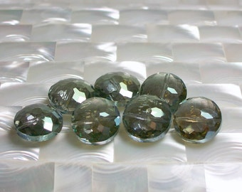 7pcs 18mm Chinese Crystal Glass Bead Fully Faceted Puffed Coin Green Color Fancy Jewelry Jewellery Craft Supplies