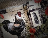 Paris Script Hen & Rooster Feather Fabric - French Script - Royal Crown