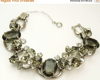 Vintage D&E Juliana Rhinestone Bracelet Smoky Gray Oval Rhinestones Bracelet