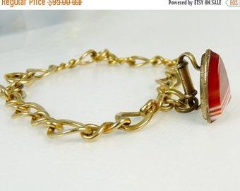 Antique Scottish Agate Sad Iron Charm Fob Gold Filled Charm Bracelet