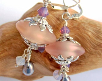 Tumbeled Pink Champagne  Danglers - Lampwork Earrings