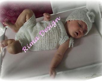 PATTERN Baby infant newborn girl boy 0 to 6 adjustable crochet onesie hat SET mohair removable flower easy Christmas gift original design