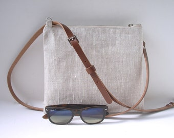 Simple Cross Body Bag, CrossBody Purse, Minimalist Bag, Linen Cross Body, Bag, Hip Bag, Cross Shoulder Strap