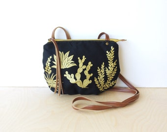 date purse  • crossbody bag - cactus • black - metallic gold - cactus and succulent print - black canvas - screenprinted • native