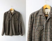 1950s Shirt / Vintage 50s Macy's Plaid Wool Shirt / 1950s Collar Loop Wool Button Down Shirt