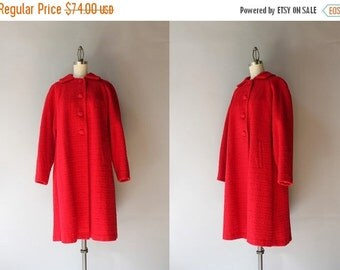 STOREWIDE SALE 1950s Coat / Vintage 50s Apple Red Wool Coat / Fifties Warm Wool Winter Coat