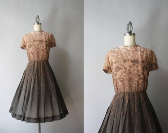 1950s dress / Vintage 50s Hombre Shadow Floral Dress / 1950s Sheer Cotton Dress