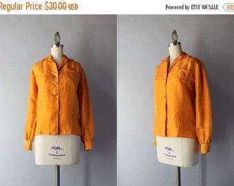 STOREWIDE SALE Vintage Silk Blouse / 1960s Raw Silk Pumpkin Blouse / Vintage 60s Button Down Blouse