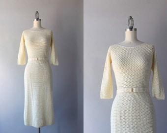 1960s Shimmering Sequin Dress / Vintage 50s Cream Wool Wiggle Dress / Vintage 1960s Knit Dress