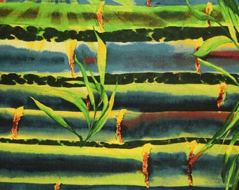 Bamboo Green Blue Escape Frond Designs Fabric 1 yard