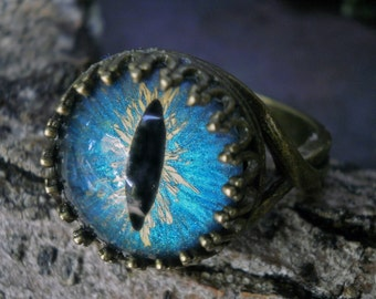 Gothic Steampunk Adjustable Cat Eye Ring in Turquoise Blue and Antique Bronze