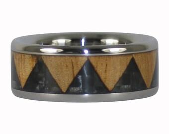 Black Carbon Fiber Tribal Titanium Ring
