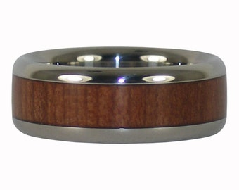 Redwood Titanium Ring for Men and Women Builders or Nature Lovers