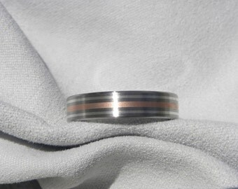 Titanium Silver and Copper Inlay Ring, Wedding Band, Satin Finish