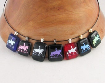 Dressage Horse pendant - dichroic horse on black fused glass necklace - dressage necklace