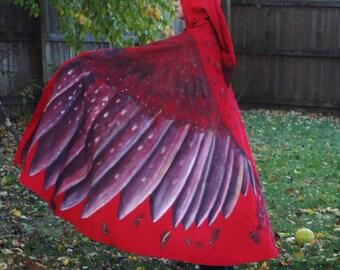 Hand Painted  Mockingjay Cloak / Microsuede Phoenix Cape / Red Hawk Bird Wings