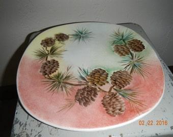 Vintage Handpainted Plate Pine Cones Rustic Cabin Look Signed 1955
