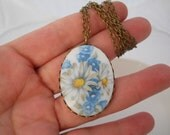 Large Porcelain Glass Flower Cameo Necklace Daisies Forget me Not's  Cabochon Brass Lace Bezel Setting Brass Beaded Chain You Choose Length