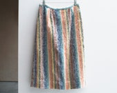 Vintage Striped Mohair Wool Skirt, Winter Fashion, Women's Fashion, Hand Tailored Skirt