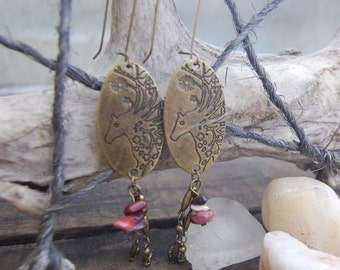 Dangle Horse Mookaite Earrings